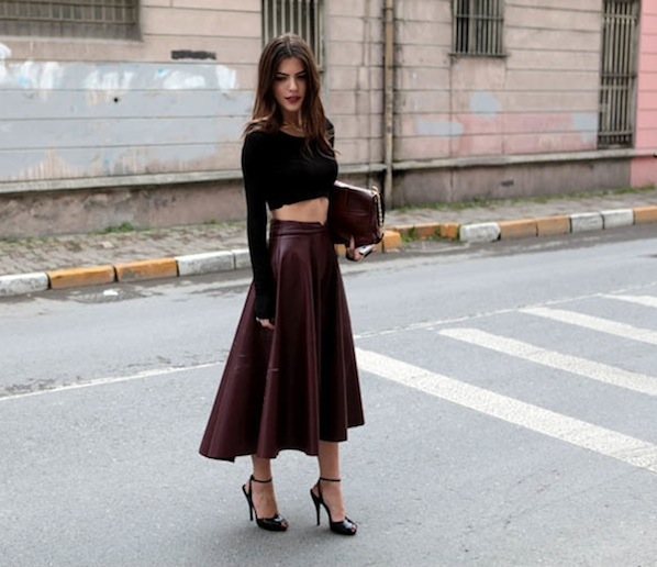 black crop top and leather midi