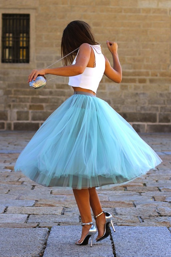 white crop top and blue skirt